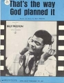 BILLY PRESTON That`s The Way God Planned It USA Sheet Music