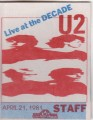 U2 Live At The Decade USA Backstage Pass