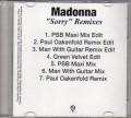 MADONNA Sorry Remixes USA CD5 Promo Test Pressing