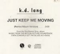 K.D.LANG Just Keep Me Moving USA CD5 Promo