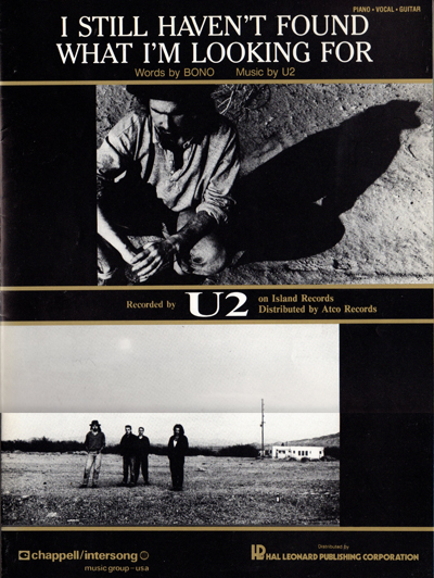 U2 I Still Haven't Found What I'm Looking For USA Sheet Music