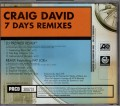 CRAIG DAVID 7 Days USA CD5 Promo Only w/Remixes