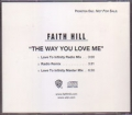 FAITH HILL The Way You Love Me USA CD5 Promo Only w/3 Mixes
