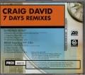 CRAIG DAVID 7 Days USA CD5 Promo Only w/Remixes